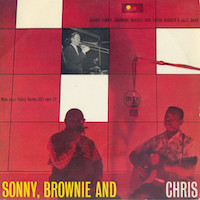 1958. Chris Barber's Jazz Band with Sonny Terry and Brownie McGhee, Sonny, Brownie and Chris