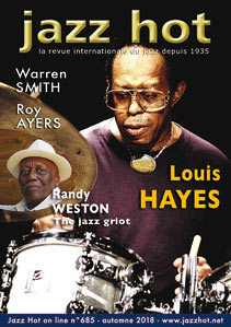 Jazz Hot n°685, couverture: Louis Hayes © David Sinclair, en médaillon: Randy Weston © Pascal Kober