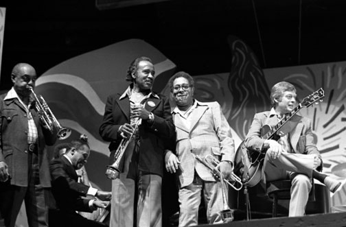 Harry Sweets Edison at Monterey Jazz Festival, 1976, Benny Carter (tp) John Lewis (p), Harry Sweets Edison (tp), Dizzy Gillespie (tp), Mundell Lowe (g) © Ray Avery/CTSIMAGES