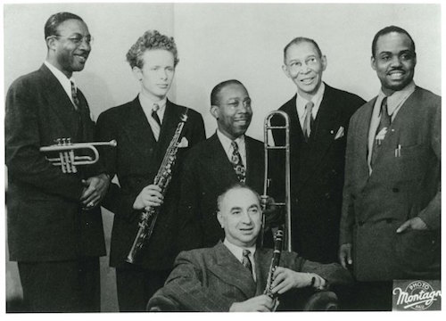 Henry Goodwin, Bob Wilber, Jimmy Archey, Mezz Mezzrow, Pops Foster, Sammy Price © Photo X, coll. Michel Laplace by courtesy