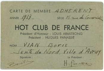 Carte d'adhérent du HCF, 1937 © collection Fond'action Boris Vian, by courtesy