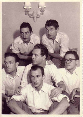 Le Jazz Hot d'Herman Sandy (tp), avec Jacky Thunis (dm), Raymond Lauwers (ts, bs), Franz André (p), Gene Kemp (b), Toots Thielemans (g),  été 1946, Duc de Buckingham de Blankenberghe © Photo X, Collect. Jean-Marie Hacquier by Courtesy