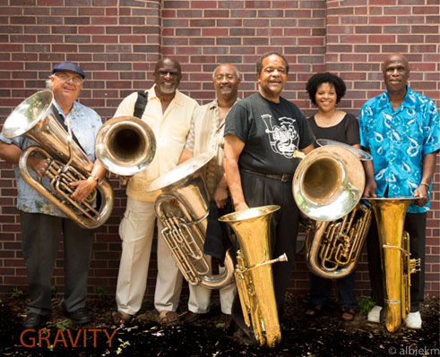 Howard Johnson & Gravity: Dave Bargeron, Joe Daley, Earl McIntyre, Howard Johnson, Nedra Johnson, Bob Stewart  © photo X by courtesy of www.hojotuba.com