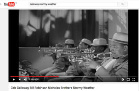 1943, Stormy Weather, Cab Calloway Orchestra, section de trompettes, Jonah Jones au premier plan © YouTube